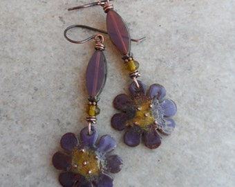 Plum Posies ... Artisan-Made Enameled Copper, Czech Glass and Copper Wire-Wrapped Rustic, Boho, Floral, Woodland Earrings