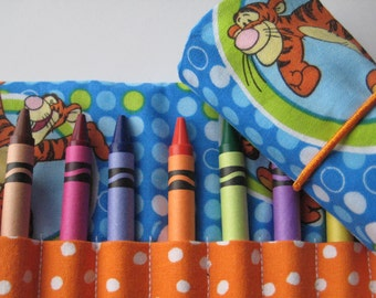 Crayon Roll Wallet Tigger Includes 8 Crayons