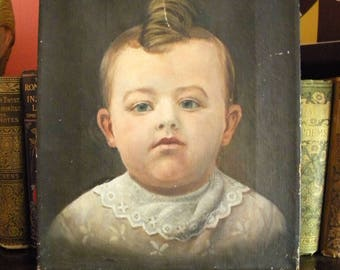Antique Oil Painting Portrait of Baby Victorian Era Child with Big Curl and Lace Collar
