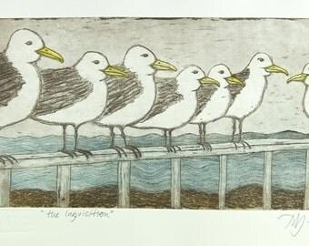 seagull art print, bird wall art, seaside print, beach scene print, beach art, ocean art, boardwalk art, limited edition art, bird art
