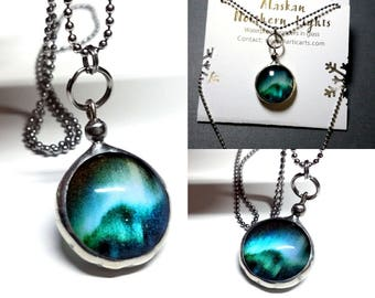 Aurora Borealis Night Sky Necklace Dichroic Glass Jewelry Translucent Glow Northern Lights Made in Alaska Gift Idea