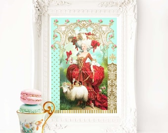 Marie Antoinette French art print, Baroque, Rococo, vintage style, A4 giclee