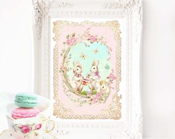 "Rabbit print, pink nursery decor, Easter, woodland tea party, A4, 8"" x10"" giclee"