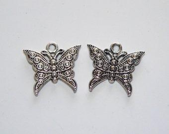 2 Silver Tone Butterfly Charm Pendants