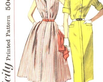 UNCUT 1950's Shirtwaist Dress Bust 33 Simplicity 2043 Vintage Sewing Pattern