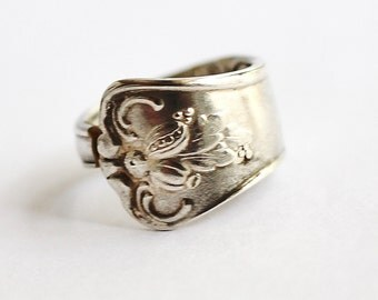 Spoon Ring sz 5.5, Spoon Necklace, Floral Flower Design, Repurposed Vintage, Recycled Silverware Eco-Friendly, Antique Jewelry by Hendywood