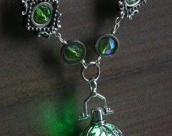 Necklace with green glowing orb - Lovely Valentine Gift - Antique Silver tone