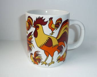 Holt Howard Rooster Mug - Ceramic Coffee Mug - Colorful Yellow Orange Brown Rooster Design on White- Farm Animal- Country Style Decor- 1970s