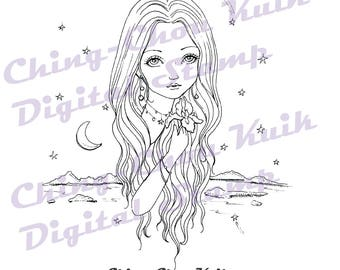 Nightfall - Instant Download Digital Stamp / Iris Sea Moon Star Coloring Line Art Fairy Girl by Ching-Chou Kuik