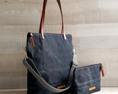 on sale!! - Waxed Canvas Tote Bag, UNISEX Tote Bag, Charcoal BLACK Tote, Waterproof Tote Bag, Leather Straps, Women Bag, Men Bag, Laptop Bag
