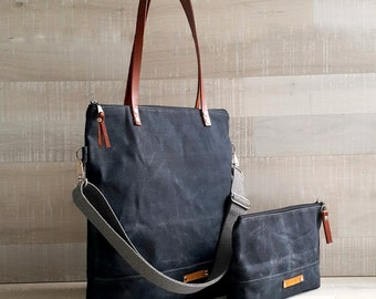 on sale!! - Waxed Canvas Tote Bag, UNISEX Tote Bag, Charcoal BLACK Tote, Waterproof Tote Bag, Leather Straps, Women Bag, Men Bag, Laptop Bag