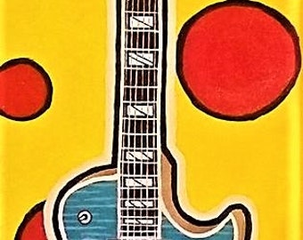 "Gibson Les Paul 12"" x 36"" Supreme Florentine Original Acrylic Pop Art Glow in the Dark Painting Modern Pop Art Primary Colors"