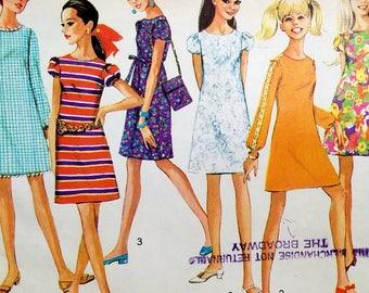 Vintage 1960s Mod A Line Mini Dress Pattern Simplicity 7430 Bust 34 Sleeve Variations Festival Dress Pattern Purse Pattern