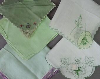 5 Vintage Green Hankies, Embroidery & Crochet, 1950s Hankie Lot