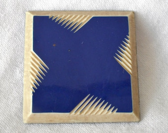 Large VINTAGE Blue & White Square Carved Layer BUTTON