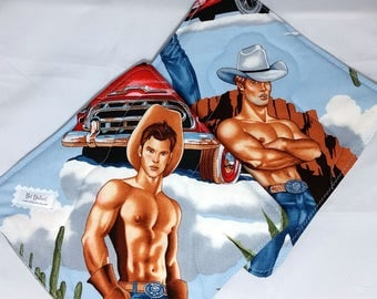 Hot Dishes - Shirtless Cowboy Pot Holders - Sexy Hot Pad - Oven Mitt - Western - Pinup - Beefcake - Rodeo -