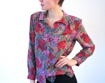 Yasmine, 80s Pink Floral Blouse, Bright Floral Blouse, Retro Floral Blouse, Vintage Floral Top, Rayon Floral Shirt, Flower Garden Blouse M