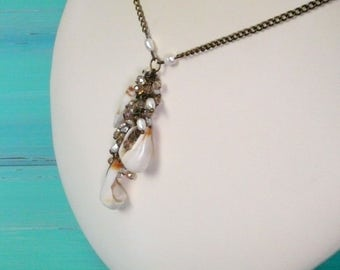 shell & bead cluster necklace - mermaid necklace, crystal and fresh water pearl necklace, mermaid accessory, beach bridal