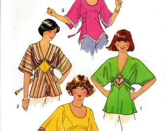 Simplicity 7983 1970s Boho Pullover Tie Back Top Blouse Shirt Size 10 Uncut Vintage Sewing Pattern 1977