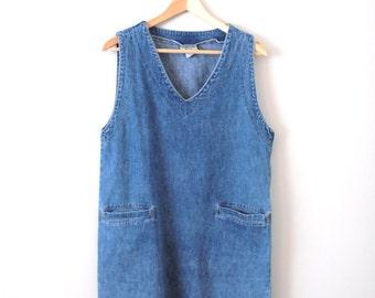 90s denim dress 1990s grunge minimalist vintage v neck dress
