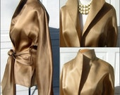 High Fashion Antique Gold Silk Blouse Versatile Sash Belt Bell Sleeves - Medium