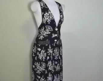 Vintage Rayon Jumper Dress Romantic 90s Grunge L