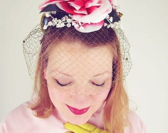50s Mr. John Pink Flowers and Chartreuse Bow Veil Hat - Demi Chapeau