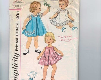1950s Vintage Sewing Pattern Simplicity 3056 Girls Blouse Slip Dress or Jumper Panties Size 1 Breast 20 50s