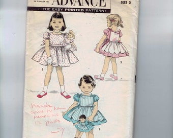 1950s Vintage Sewing Pattern Advance 8302 Girls Full Skirted Dress and Pinafore with Matching Doll Dress 14 16 In Size 2 Breast 21 50s 1950s