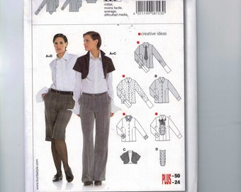 Misses Sewing Pattern Burda 8153 Misses Tuxedo Shirt and Cropped Jacket Size 10 12 14 16 18 20 22 24 UNCUT  99