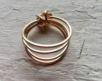 Gold Plated wire Sculpted Ring, reversible, layered bands, size 7 1/4