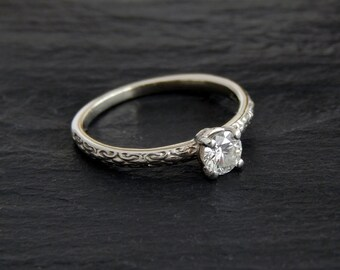 Diamond Stacking Ring: 10k white gold, Byzantine chain link pattern band, 0.40 carat round brilliant diamond, engagement ring, size 6.75