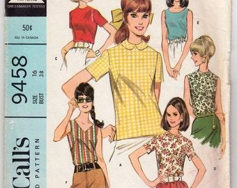 "Vintage Sewing Pattern Ladies' Blouses McCall's 9409 34"" Bust"