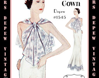 Vintage Sewing Pattern 1930's Evening or Wedding Gown in Any Size Depew 1545 - PLUS Size Included -INSTANT DOWNLOAD-