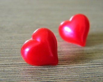 Red Heart Post Earrings Stud Earrings 15mm