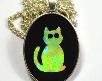 Adorable Kitty Cat Kitten Holo Holographic Resin Pendant