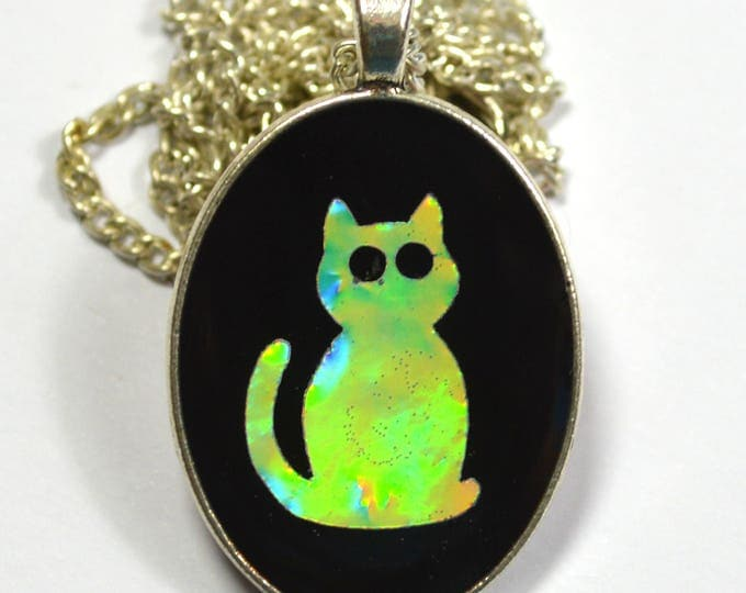 Adorable Kitty Cat Kitten Holo Holographic Resin Pendant