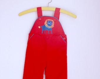 Vintage infant overalls red with lion 12 months 18 months by piccolo