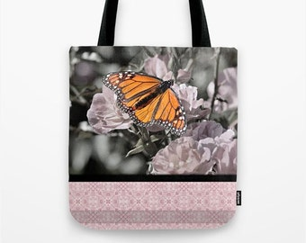 Spring Canvas Tote Bag Orange Monarch Butterfly Light Pink Flowers, Soft Black and White Background Subtle, Pink Gothic Diamond Tile Pattern