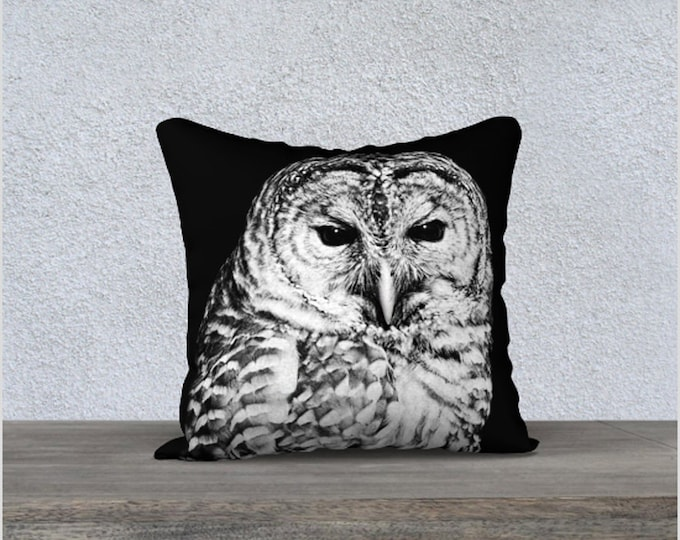 Featured listing image: Pillow Cover, Black and White Barred Owl Face Velveteen Throw Cushion Case, Bird Theme Home Decor