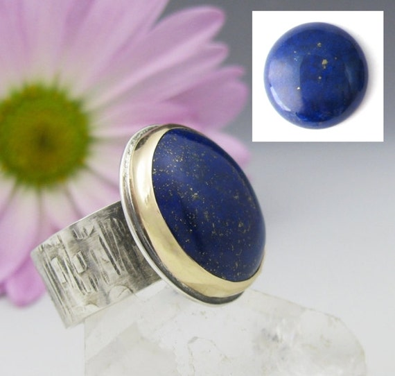 Custom Lapis Lazuli Ring - sterling silver and 14K gold lapis ring - US size 8