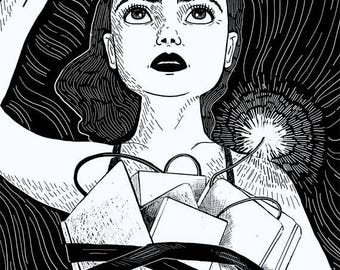 Freedom Fighter | 11X14 print, black and white art, political feminist art, rebel woman, rebellion, call to arms | by Meluseena