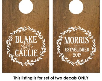 Corn Hole Board Decal | Rustic Wedding | Fall Cornhole Board Monogram Decal | Cornhole Decal | Personalized Cornhole Game Decal