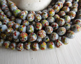 grey  Round lampwork Glass beads,  opaque semi glossy base , multicolored speckled design, supplies indonesia 9-10mm (16 pcs) 6CB12-5