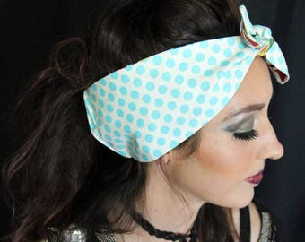 POLKA DOT Blue/White Rockabilly/ Retro inspired Head scarf, 50s/ 60s. Alexander Henry Lucky Cat Kitty reverse fabric.