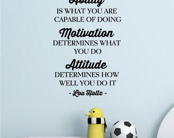Wall Quotes Ability Motivation Attitude Vinyl Decal Lou Holtz Football Sports Inspirational Positive Affirmations Gifts for Men Manly