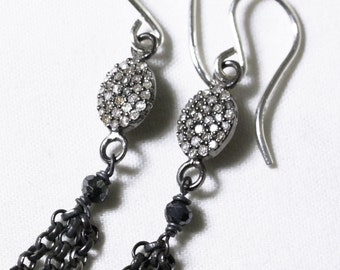 Pavé Diamond Earrings Genuine Diamond Oxidized Chain Precious Diamond Statement Earring Precious Diamond Jewelry July Birthstone PD-E-131-os