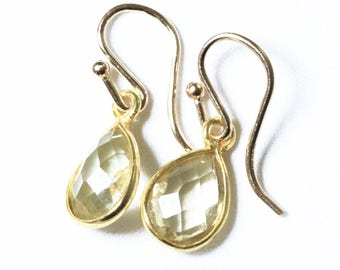 Lemon Topaz Earrings Genuine Topaz Small Dangle Earrings Yellow Teardrop Earring November Birthstone 14k Vermeil Bezel BZ-E-102-LTopaz/g