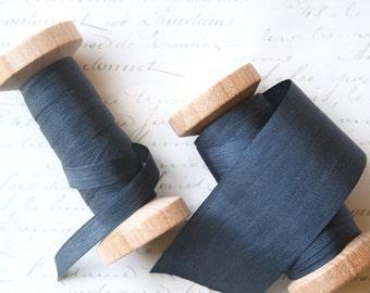 Charcoal Silk Ribbon, Hand Dyed Silk Ribbon, Dark Gray Silk Ribbon, Wide Silk Ribbon, Silk Ribbon, Narrow Silk Ribbon,  3 yard spool