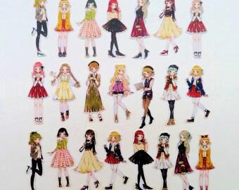21 pcs  KAWAII GIRL  die cut sticker set